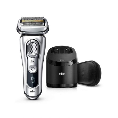 Braun Electric Razor for Men, Series 9 9390cc, Electric Foil Shaver, Precision Beard Trimmer, Rechargeable, Cordless, Wet & Dry Foil Shaver, Clean & Charge Station and Leather Travel Case