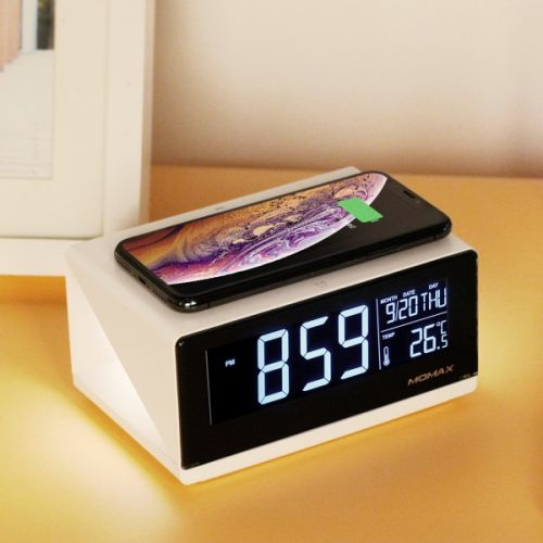 MOMAX Q.Clock Digital Clock with Wireless Charger